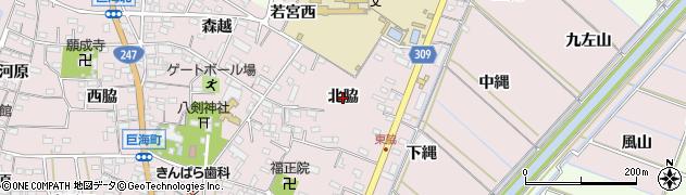 愛知県西尾市巨海町(北脇)周辺の地図