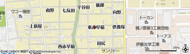 愛知県豊川市市田町(東赤早稲)周辺の地図