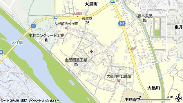 〒675-1334 兵庫県小野市大島町の地図