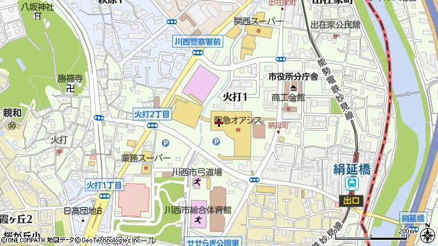 〒666-0017 兵庫県川西市火打の地図