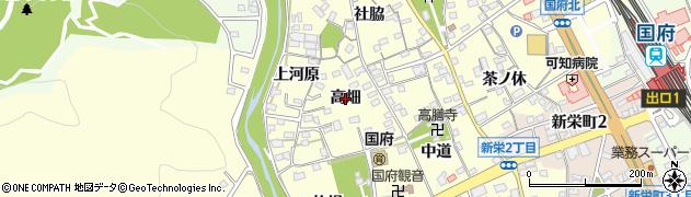 愛知県豊川市国府町(高畑)周辺の地図