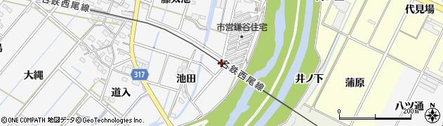 愛知県西尾市鎌谷町(巡見)周辺の地図