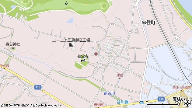 〒675-1343 兵庫県小野市来住町の地図