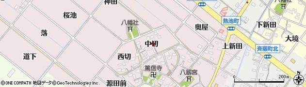 愛知県西尾市熱池町(中切)周辺の地図
