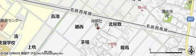 愛知県西尾市十郎島町(寺島)周辺の地図