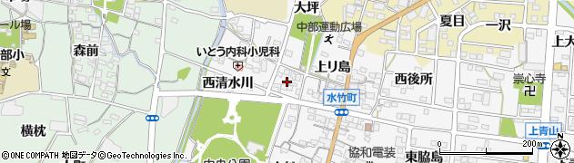 愛知県蒲郡市水竹町(東清水川)周辺の地図