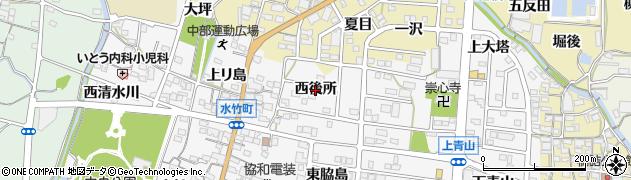愛知県蒲郡市水竹町(西後所)周辺の地図