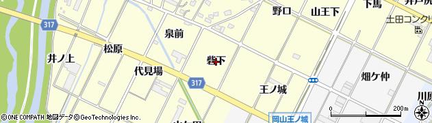 愛知県西尾市吉良町岡山(砦下)周辺の地図