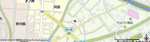 愛知県豊川市篠田町(四ツ家)周辺の地図