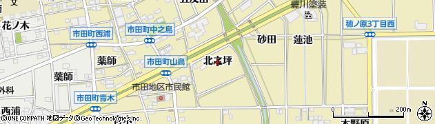 愛知県豊川市市田町(北之坪)周辺の地図
