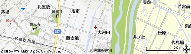 愛知県西尾市鎌谷町周辺の地図