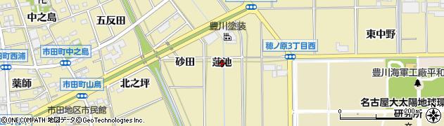 愛知県豊川市市田町(蓮池)周辺の地図