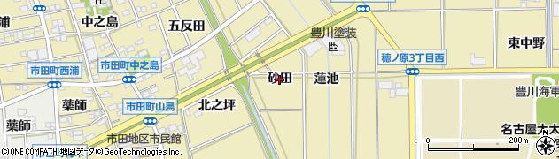 愛知県豊川市市田町(砂田)周辺の地図