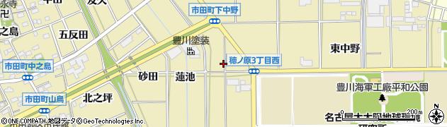 愛知県豊川市市田町(下中野)周辺の地図