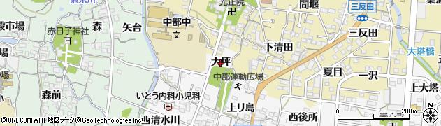 愛知県蒲郡市水竹町(大坪)周辺の地図