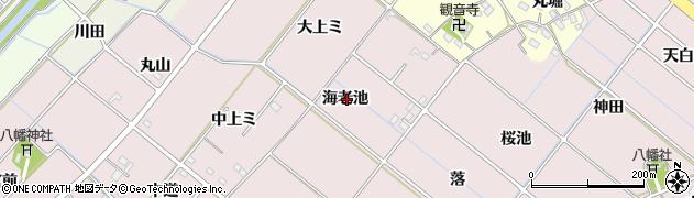 愛知県西尾市針曽根町(海老池)周辺の地図