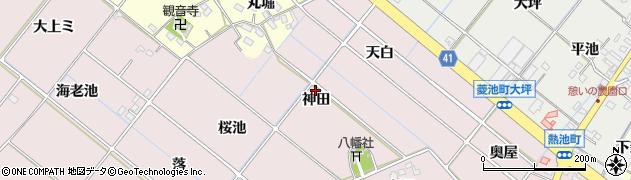 愛知県西尾市熱池町(神田)周辺の地図