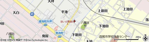 愛知県西尾市菱池町(新田)周辺の地図