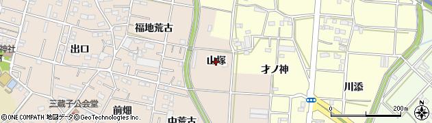 愛知県豊川市三蔵子町(山塚)周辺の地図
