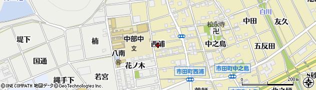 愛知県豊川市市田町(西浦)周辺の地図
