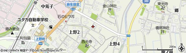 愛知県豊川市上野周辺の地図