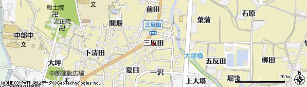 愛知県蒲郡市清田町(三反田)周辺の地図