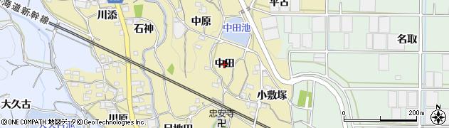 愛知県蒲郡市柏原町(中田)周辺の地図