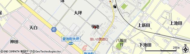 愛知県西尾市菱池町(平池)周辺の地図