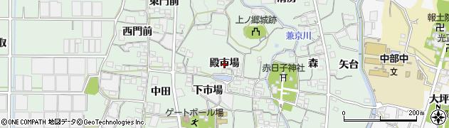 愛知県蒲郡市神ノ郷町(殿市場)周辺の地図
