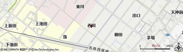 愛知県西尾市鵜ケ池町(西川)周辺の地図