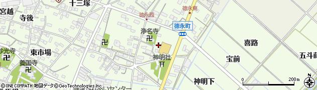 愛知県西尾市徳永町(東側)周辺の地図