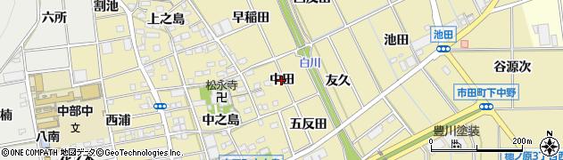愛知県豊川市市田町(中田)周辺の地図