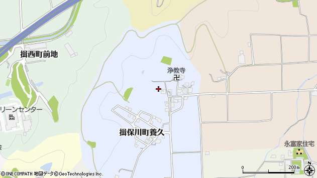 〒671-1603 兵庫県たつの市揖保川町養久の地図