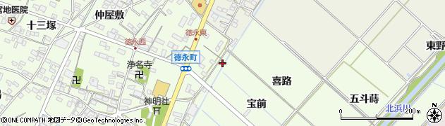 愛知県西尾市徳永町(欠下)周辺の地図