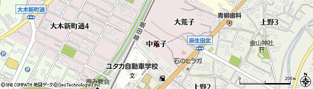 愛知県豊川市麻生田町(中荒子)周辺の地図