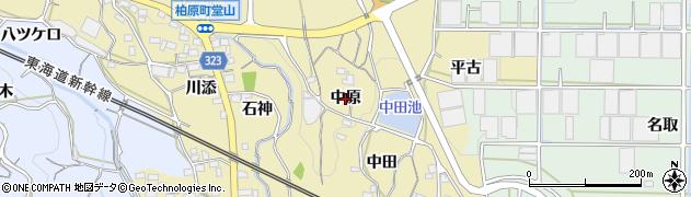 愛知県蒲郡市柏原町(中原)周辺の地図