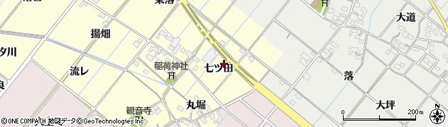 愛知県西尾市長縄町(七ツ田)周辺の地図