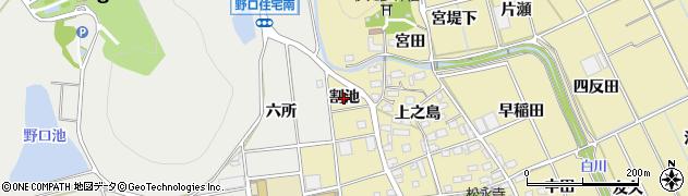 愛知県豊川市市田町(割池)周辺の地図