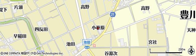 愛知県豊川市市田町(小笹原)周辺の地図