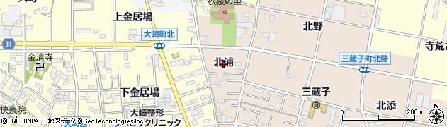 愛知県豊川市三蔵子町(北浦)周辺の地図