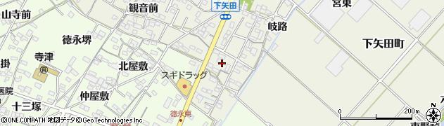 愛知県西尾市下矢田町(円入庵)周辺の地図
