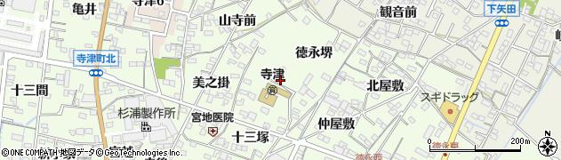 愛知県西尾市寺津町周辺の地図