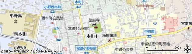 兵庫県小野市東本町周辺の地図