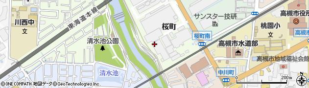 大阪府高槻市桜町周辺の地図