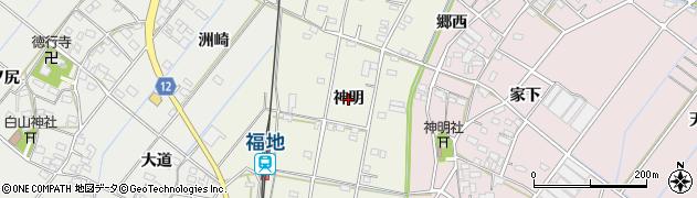 愛知県西尾市川口町(神明)周辺の地図