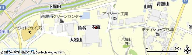 愛知県西尾市吉良町岡山(石流)周辺の地図