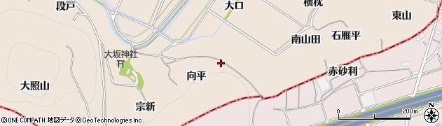 愛知県豊川市金沢町(向平)周辺の地図