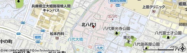 兵庫県姫路市北八代周辺の地図