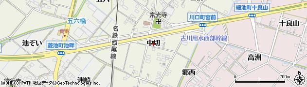 愛知県西尾市川口町(中切)周辺の地図