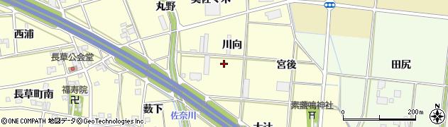 愛知県豊川市長草町(川向)周辺の地図